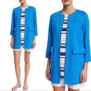 St. John Collection Blue Milano Knit Topper Jacket